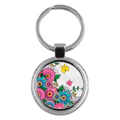Flowers Pattern Vector Art Key Chains (Round)