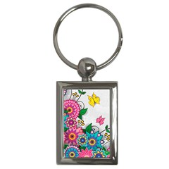 Flowers Pattern Vector Art Key Chains (Rectangle)
