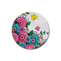 Flowers Pattern Vector Art Rubber Round Coaster (4 pack)