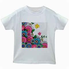 Flowers Pattern Vector Art Kids White T Shirts