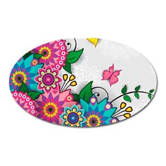 Flowers Pattern Vector Art Oval Magnet
