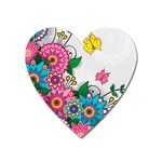 Flowers Pattern Vector Art Heart Magnet Front