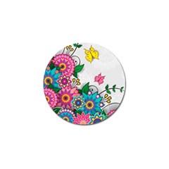 Flowers Pattern Vector Art Golf Ball Marker (4 Pack)