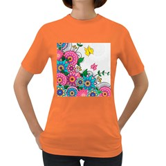 Flowers Pattern Vector Art Women s Dark T-Shirt