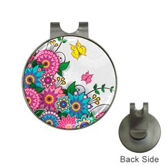 Flowers Pattern Vector Art Hat Clips With Golf Markers