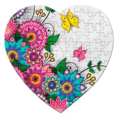 Flowers Pattern Vector Art Jigsaw Puzzle (Heart)