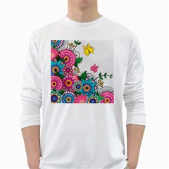 Flowers Pattern Vector Art White Long Sleeve T-Shirts