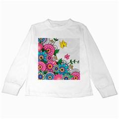 Flowers Pattern Vector Art Kids Long Sleeve T Shirts