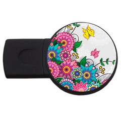 Flowers Pattern Vector Art Usb Flash Drive Round (4 Gb)