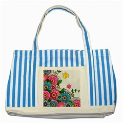 Flowers Pattern Vector Art Striped Blue Tote Bag