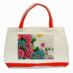 Flowers Pattern Vector Art Classic Tote Bag (red)