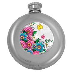 Flowers Pattern Vector Art Round Hip Flask (5 oz)