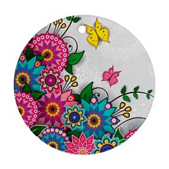 Flowers Pattern Vector Art Round Ornament (Two Sides)
