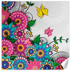 Flowers Pattern Vector Art Canvas 16  X 16