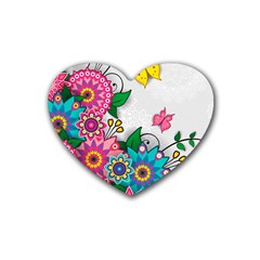 Flowers Pattern Vector Art Rubber Coaster (heart)
