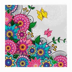 Flowers Pattern Vector Art Medium Glasses Cloth (2 Side)
