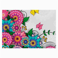 Flowers Pattern Vector Art Large Glasses Cloth (2-Side)