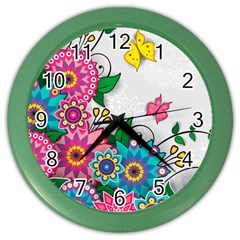 Flowers Pattern Vector Art Color Wall Clocks