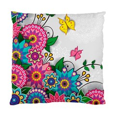 Flowers Pattern Vector Art Standard Cushion Case (two Sides)