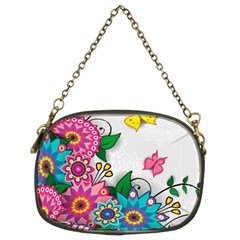 Flowers Pattern Vector Art Chain Purses (two Sides)