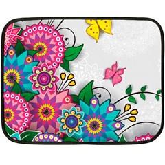 Flowers Pattern Vector Art Double Sided Fleece Blanket (mini)