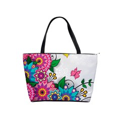 Flowers Pattern Vector Art Shoulder Handbags