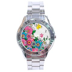 Flowers Pattern Vector Art Stainless Steel Analogue Watch