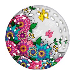 Flowers Pattern Vector Art Ornament (round Filigree)