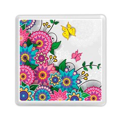 Flowers Pattern Vector Art Memory Card Reader (square)