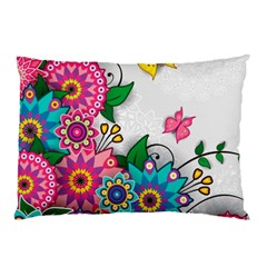 Flowers Pattern Vector Art Pillow Case (Two Sides)