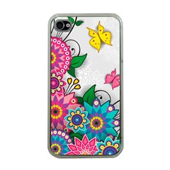 Flowers Pattern Vector Art Apple iPhone 4 Case (Clear)