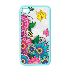 Flowers Pattern Vector Art Apple Iphone 4 Case (color)