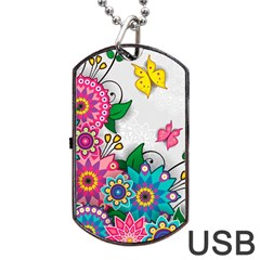 Flowers Pattern Vector Art Dog Tag Usb Flash (two Sides)