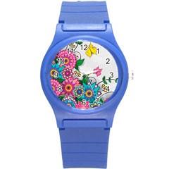 Flowers Pattern Vector Art Round Plastic Sport Watch (S)