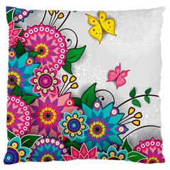 Flowers Pattern Vector Art Large Cushion Case (two Sides)