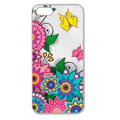 Flowers Pattern Vector Art Apple Seamless Iphone 5 Case (clear)