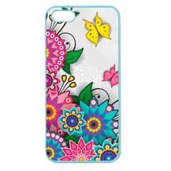 Flowers Pattern Vector Art Apple Seamless Iphone 5 Case (color)