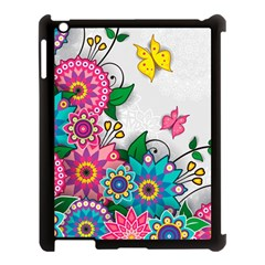 Flowers Pattern Vector Art Apple Ipad 3/4 Case (black)
