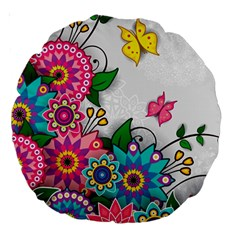 Flowers Pattern Vector Art Large 18  Premium Round Cushions