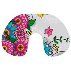 Flowers Pattern Vector Art Travel Neck Pillows