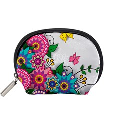 Flowers Pattern Vector Art Accessory Pouches (small)
