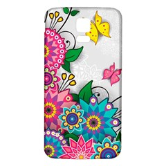 Flowers Pattern Vector Art Samsung Galaxy S5 Back Case (white)