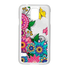 Flowers Pattern Vector Art Samsung Galaxy S5 Case (white)