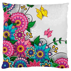 Flowers Pattern Vector Art Large Flano Cushion Case (two Sides)