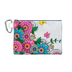 Flowers Pattern Vector Art Canvas Cosmetic Bag (m)