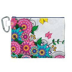 Flowers Pattern Vector Art Canvas Cosmetic Bag (xl)
