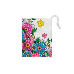 Flowers Pattern Vector Art Drawstring Pouches (xs)
