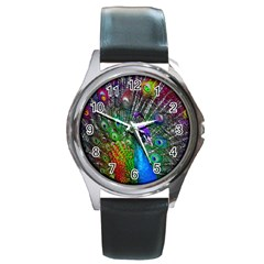 3d Peacock Pattern Round Metal Watch
