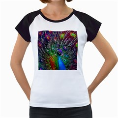 3d Peacock Pattern Women s Cap Sleeve T