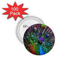3d Peacock Pattern 1 75  Buttons (100 Pack)